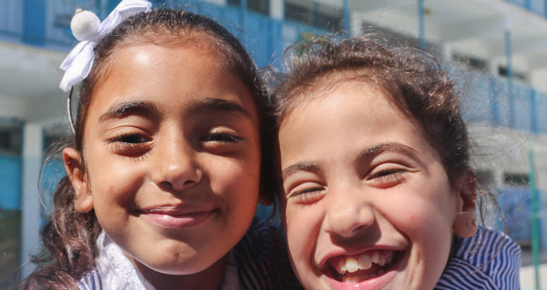 Palestine refugee students at the UNRWA Jalazone Girls' School in the West Bank. © 2018 UNRWA Photo by Marwan Baghdadi