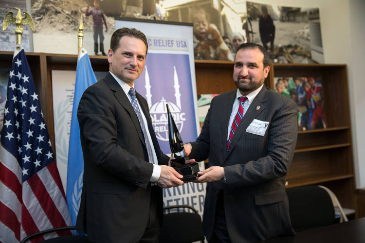 UNRWA Commissioner-General Pierre Krähenbühl met with IR USA Chief Executive Officer Mr. Anwar Ahmed Khan on March 17, 2015 to thank IR USA for its contributions to Palestine refugees. © 2015 UNRWA photo by Sarah Lord