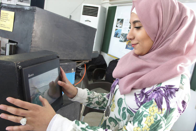 """Mechatronics graduates can work in any company and are in demand as more and more products are becoming smarter,"" says Damascus Training Centre graduate. © 2019 UNRWA Photo by Taghrid Mohammad"