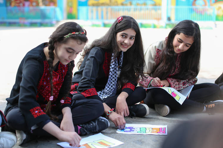 """Participating in MVMS motivated me to practice more in order to improve my English language skills"" says Nadeen Sehweel (age 10, centre), from Al-Remal School in Gaza. © 2016 UNRWA Photo by Tamer Hamam"