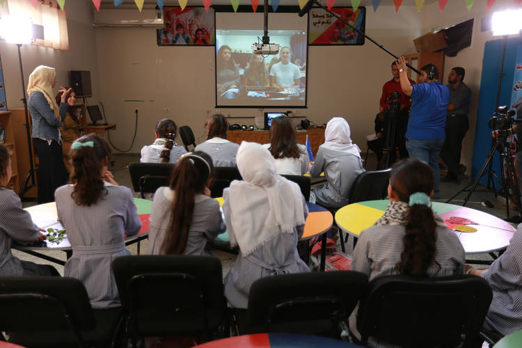 UNRWA students in Gaza Skype with their peers in the Netherlands during the first call of My Voice-My School project. © 2016 UNRWA Photo by Tamer Hamam.