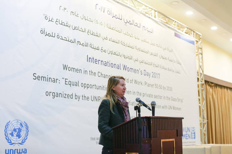 Deputy Director of UNRWA Operations in Gaza, Ms. Melinda Young, gives opening remark at the International Women's Day seminar in Gaza city, organized by the UNRWA Gender Initiative, in cooperation with UN Women. © 2017 UNRWA Photo by Tamer Hamam