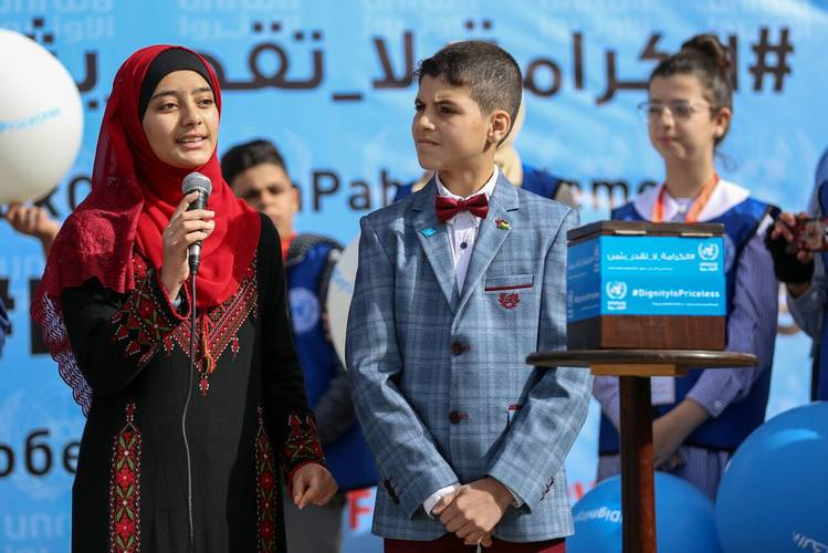 14-year-old Palestine refugee student Islam Barbakh giving a speech during the launch of  UNRWA's global fundraising campaign #DignityIsPriceless.. © 2018 UNRWA Photo by Rushdi Al-Saraj.