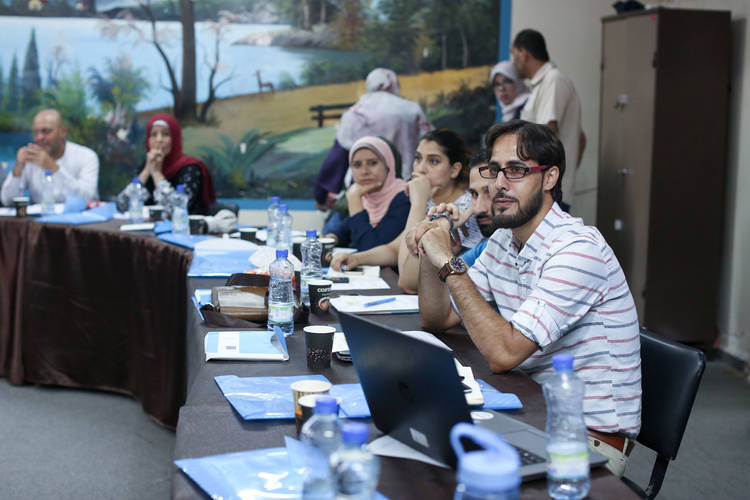 Part of the 'Lifeline Communications' training organized by the Gaza Field Communications Office. © 2017 UNRWA Photo by Tamer Hamam