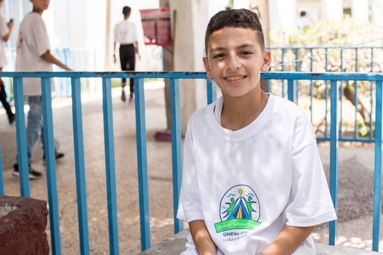 Thirteen-year-old, Ahmed Mousa, a Palestine refugee child from Ramallah, was one of the students from the West Bank who participated in a one-week summer camp with students from Gaza Strip. © 2017 UNRWA Photo by Tamer Hamam