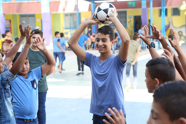 """Because of the general situation in Gaza, most of us do not find a place to play sports. Meeting here after school is undoubtedly better than playing in the streets,"" commented Hasan Bedair, a 9th-grade student at UNRWA Bahrain Preparatory School. © 2018"