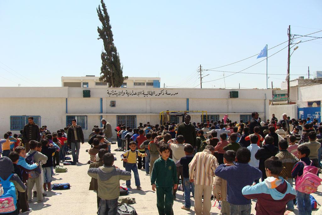 The Talbieh Elementary/Preparatory Boys' school in Talbieh camp. © 2008 UNRWA Photo by Nidal Ammouri