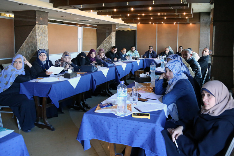 UNRWA human rights teachers participate in training on gender-based violence, early marriage and adolescent health as part of the Agency's activities during the 16-days of activism against gender-based violence campaign. © UNRWA Gaza 2015. Photo by Tamer Abu Hamam