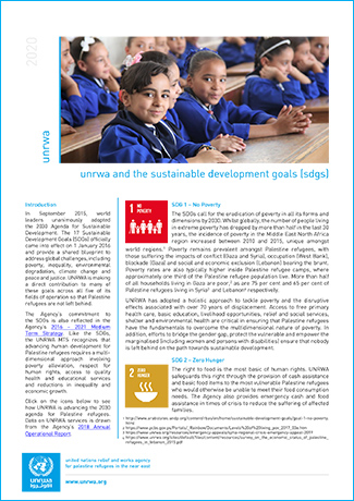 UNRWA AND THE SUSTAINABLE DEVELOPMENT GOALS (SDGS)