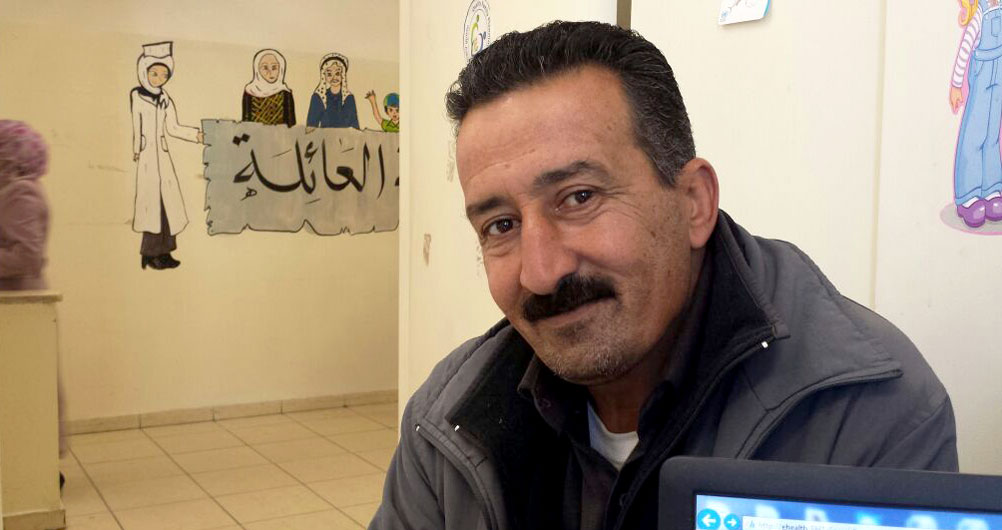 """""""Just a little control of your diet, doing physical exercise such as walking, no stress, no smoking, and enjoying your life will make you feel happy all the time and will be a strong barrier against diabetes,"""" advises Ayman al-Khatib, who is managing his diabetes with a healthier lifestyle and support from the UNRWA health programme. © UNRWA Photo"""
