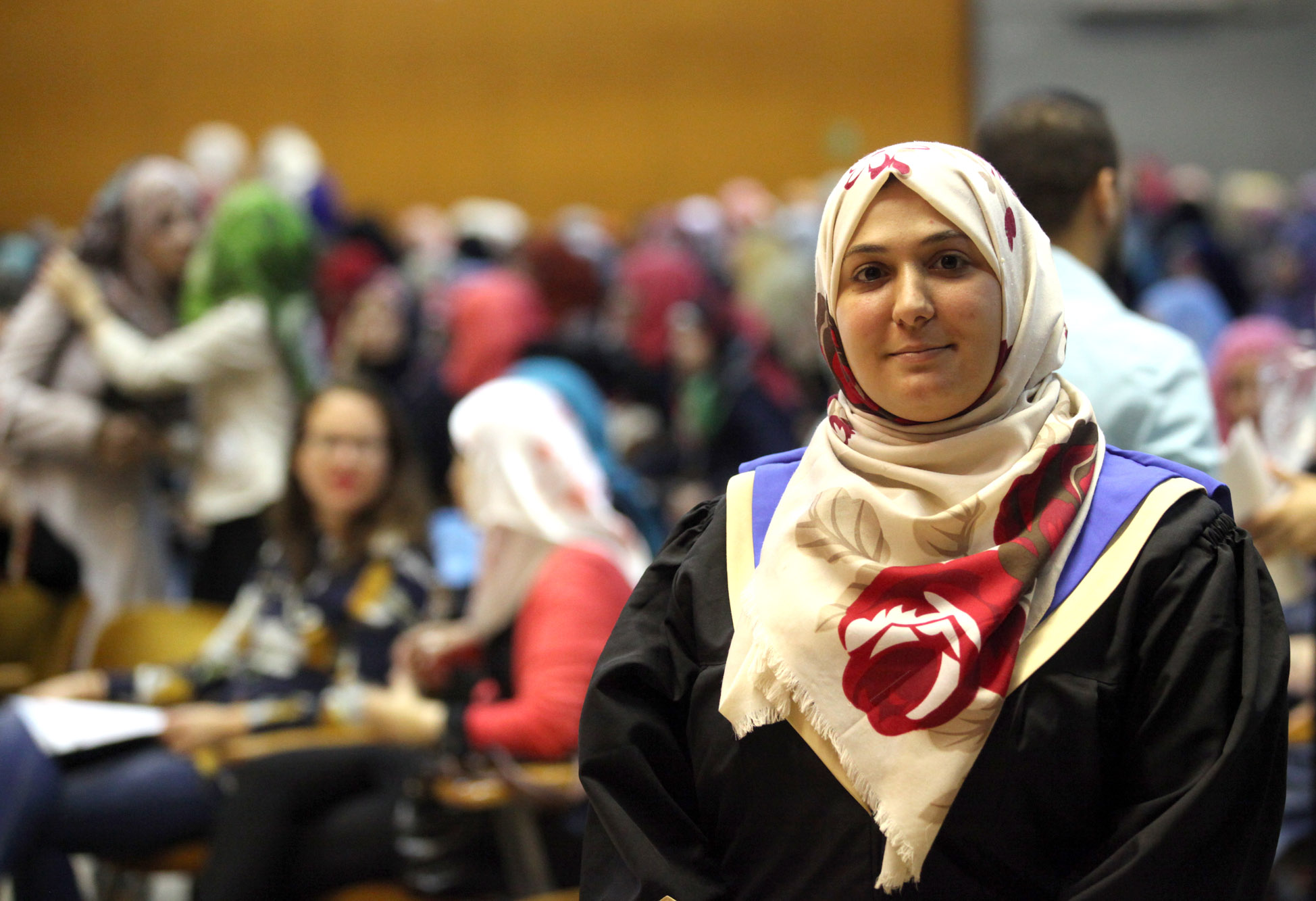 Asma Dweik is one of the 336 young female graduates who celebrated their  successes at the Young Women's Leadership Graduation Ceremony on 8 October in Gaza city. © 2015 UNRWA  Photo by Khalil Adwan.