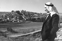 Archive photo of refugee overlooking camp