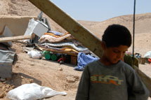 Boy after West Bank demolition