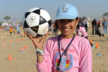 Girl with football at record breaking attempt
