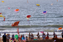Kites flying above Gaza beach