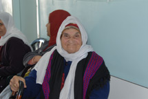 An elderly Biddu resident waits at the new UNRWA health centre in Beit Sourik