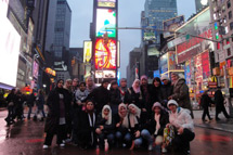 Students in Times Square, New York
