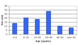 Graph of Dera'a demographic profile